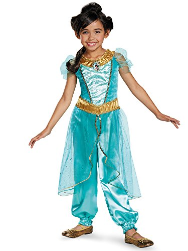 [Disguise Jasmine Deluxe Disney Princess Aladdin Costume, Small/4-6X] (Halloween Jasmine Costume)