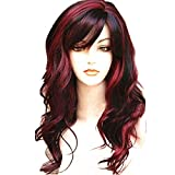WeAlake Long Hair Wigs Wavy Curly 24'' Glamorous Women Black Red Highlights Synthetic Cosplay Daily Party Clothing Wig with Wig Cap