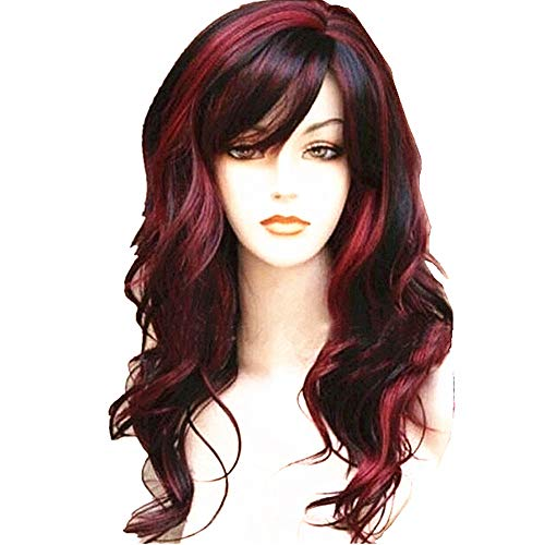WeAlake Long Hair Wigs Wavy Curly 24'' Glamorous Women Black Red Highlights Synthetic Cosplay Daily Party Clothing Wig with Wig Cap by WeAlake