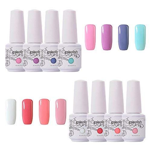 Clou Beaute Soak Off UV Led Nail Gel Polish Kit Varnish Nail Art Manicure Salon Collection Set of 8 Colors 8ml CB-S02
