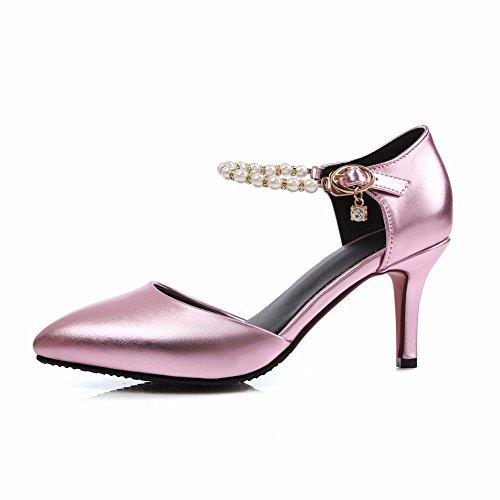 MissSaSa Damen high-heel Knöchelriemchen Pointed Toe Schnalle Pumps mit Strass und künstlich Perlen Pink