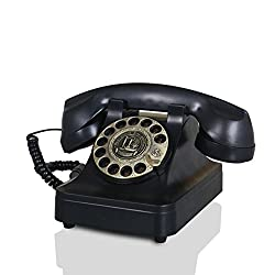 Antique telephone Living room retro telephone Home fixed phone Rotary dialing landline-black