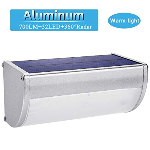 32 LED Solar Lights Aluminum Alloy Housing IP65 Waterproof 700lm Outdoor Solar Lights 360 Radar Motion Sensor Security Wall Lights for Step, Garden, Yard, Fence, Deck-Warm Light