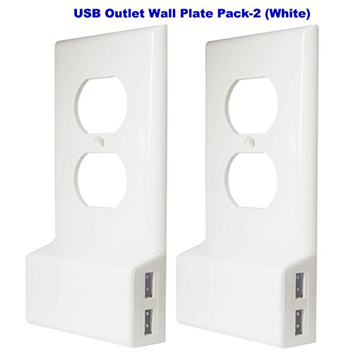 Snap USB Charger Built in Outlet Plate Cover,No Battery No Wire,Istalls in Seconds,Duplex 2.0 3A Dual USB Charging Ports Pack-2 (White)