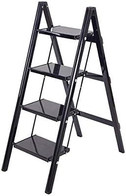 Escalera plegable 2 3 4 Pasos de escaleras plegables, Escalera pequeña ligera de aluminio negro para adultos mayores, Hogar de cocina en interiores, 150 kg (Tamaño : 4 step): Amazon.es: Bricolaje y herramientas