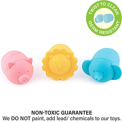 Giggles & Pebbles Silicone Pop-Squirt Bath Toy – BPA, PVC, Phthalate, Latex Free - Mold-Resistant Shower Toys (3pc) with Storage Bag for Infant Baby Toddler Boys and Girls ()