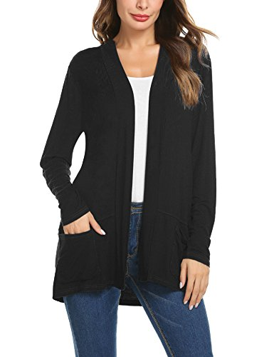 ZHENWEI Women's Cardigans Long Sleeve Open Front Cardigan Sweaters with Pockets -