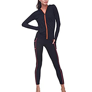 BELLEZIVA Women's Yoga Two Pieces Long Sleeve Zip up Pullover Tracksuits M Black 2