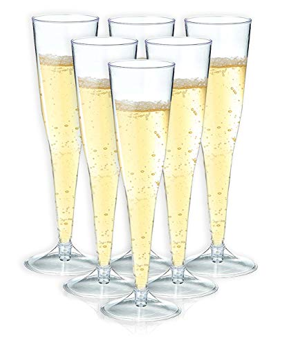 Champagne Flutes ? 50-Count Plastic Champagne Glasses, Toasting Flute Set, Clear Drinking Glasses for Housewarming Parties, Formal Events, Graduation Celebrations, 6 Fl.Oz