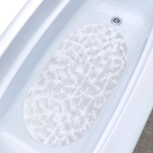 Wimaha Non-slip Bathtub Mat Eco-friendly PVC Anti-Bacterial Shower Mat Diamond Design for Bathroom, Machine Washable, 27 x 15 Inch, (Diamond Tub)