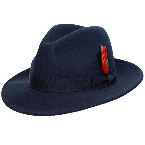 (9th Street Reverb Classic Felt Fedora 100% Wool (XLarge (fits 7 1/2 to 7 5/8), Navy))