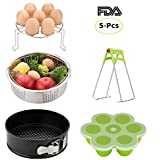 Instant Pot Accessories Set-Fits 5,6,8Qt Instapot Pressure Cooker,5-Pcs with Steamer Basket/Egg Steamer Rack/Egg Bites Molds/Non-stick Springform Pan/DishClip