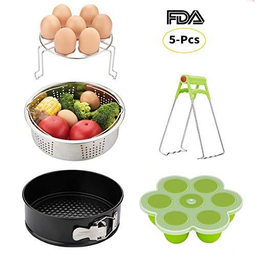 Instant Pot Accessories Set-Fits 5,6,8Qt Instapot Pressure Cooker,5-Pcs with Steamer Basket/Egg Steamer Rack/Egg Bites Molds/Non-stick Springform Pan/DishClip by Mery