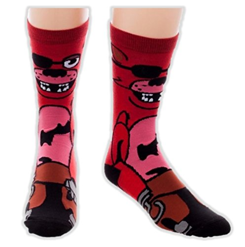 Five Nights at Freddy's Foxy 360 Crew Socks Scary Video Game Fox Adult Size 8-12 (Five Nights At Freddys Cool Math Games)
