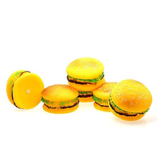 (レサ)恋上 犬用品 ペット用 おもちゃ 音が鳴る 5個入り (ハンバーガー黄色)