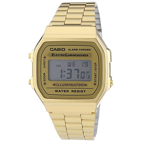 Casio A168WG-9 Men's Vintage Gold Metal Band Illuminator Chronograph Alarm Watch (Casio Gold Watch For Men)