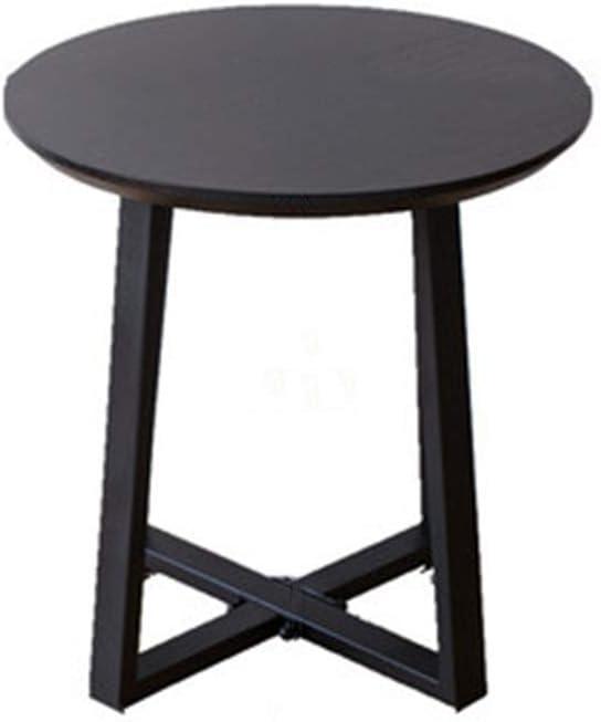 Winkel GWFVA massief hout hoge eindtafel, metalen frame zijtafel, ronde industriële nachtkastje, stevige koffietafel, voor woonkamer, slaapkamer, bank, bed Zwart 3pbmF7z