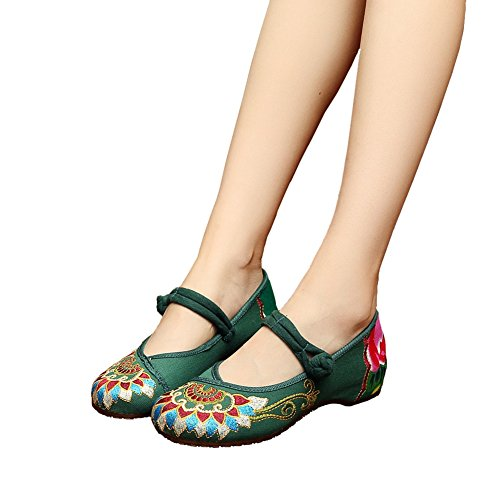 Womens Chinese Embroidery Flat Oxfords Shoes Wedge Casual Mary Jane Green