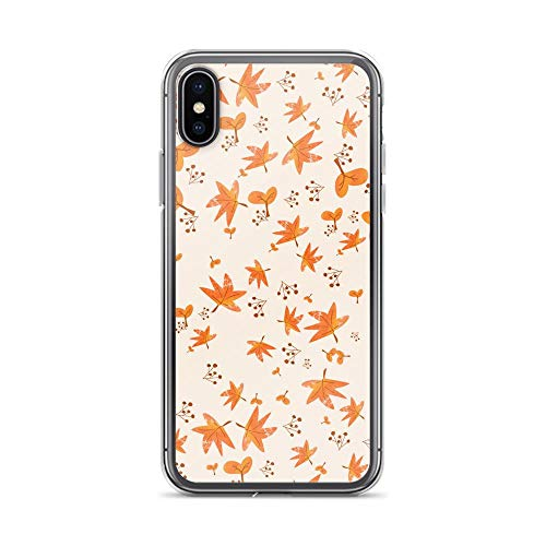iPhone X/XS Pure Clear Case Cases Cover Red Maple Leaves The Autumn Season Cartoon Design