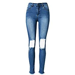 Soda Park Womens Blue High Waist Ripped Hole Washed Distressed Stretch Skinny Jeans Size 36
