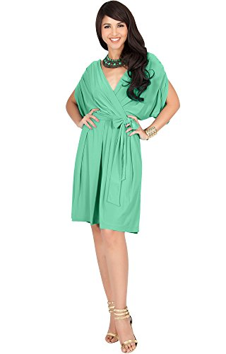 Types Of Themes For Parties (KOH KOH Plus Size Womens V-Neck Short Sleeve Flowy Bridesmaid Knee Length A-line Formal Wedding Party Guest Summer Casual Modest Cute Sexy Sundress Midi Dress Dresses, Moss/Mint Green 3XL)