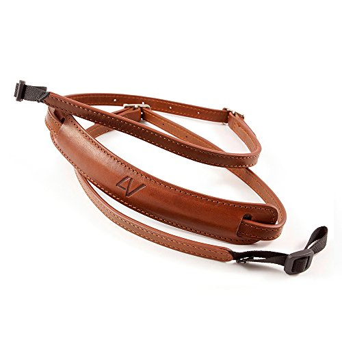 4V Design Lusso Tuscany Leather Slim Handmade Leather Camera Strap w/Universal Fit Kit, Brown/Brown (2SP01BVV2323)