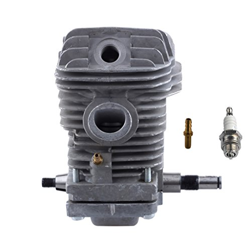 HIPA 42.5mm Cylinder Assembly with Spark Plug Replacement Crankcase Connector for STIHL 023 025 MS230 MS250 Chainsaw (Stihl Engine)