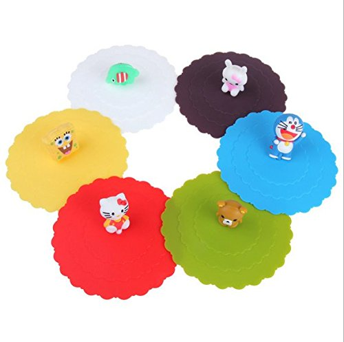Astro shop 6pc x Adorable Anti-dust Silicone Glass Cup Cover Coffee Mug Cover Lids Suction Seal Lid Cap (Canned Milk Cover compare prices)