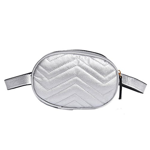 Kimloog Women Quilted Leather Fanny Pack Round Belt Waist Bag Zipper Phone Pouch ()