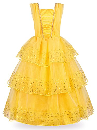 JerrisApparel Princess Belle Deluxe Ball Gown Costume for Little Girl(7, Yellow) -