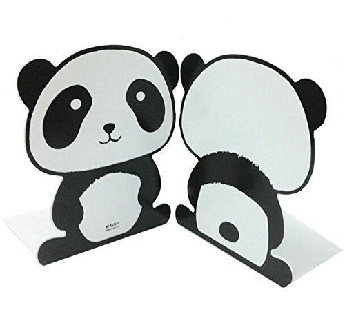 Cute Cartoon Fashion Black and White Panda With Big Round Eyes Nonskid Iron Library School Office Home Study Metal Bookends Book End 7