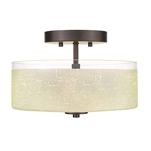 Jazava 2-Light Semi Flush Mount Ceiling Light, Industrial 12 inches Drum Ceiling Light Fixture, Yellow Linen Frosted Glass, Oil Rubbed Bronze Finish