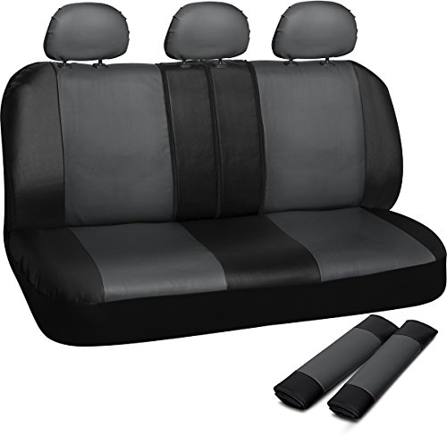OxGord Leatherette Bench Seat Covers Universal Fit for Car Truck SUV Van, Gray