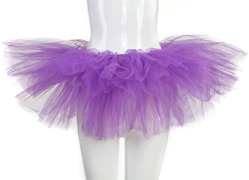 belababy Women Tutu Skirt Halloween Dress Classic 5 Layers Purple -