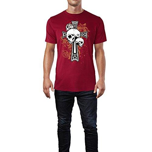 SINUS ART ® Totenköpfe vor Gothic Kreuz Herren T-Shirts in Independence Rot Fun Shirt mit tollen Aufdruck