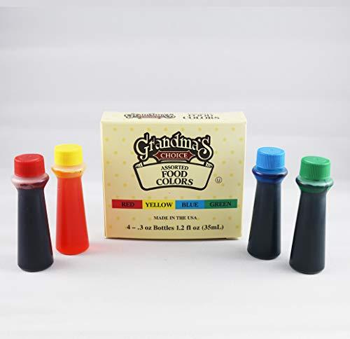 Grandma's Choice Assorted Food Color, 1.2 Fluid Ounce (Pack of 12)