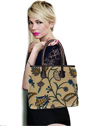 SD Fabrics - Bolso de tela de Piel para mujer marrón marrón L