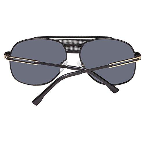 gran con diseño Gafas oro de de sol forma retro polarizado gran de mujer cuadriculado UV400 en hombre tamaño cuadrada de Negro para Gafas de marco q6Tawnv