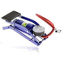 Portable Floor Foot Pump with Gauge Needle and Adapter Multipurpose Floor Pump High-Pressure for Tires on Bicycles Cars Soccer Balls and Air Mattresses Blue