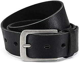 Eg-Fashion Herren Jeans-Gürtel 4 cm breit Ledergürtel aus Büffel-Leder - Schnalle im Used Look - Individuell kürzbar durch Schraubhalterung