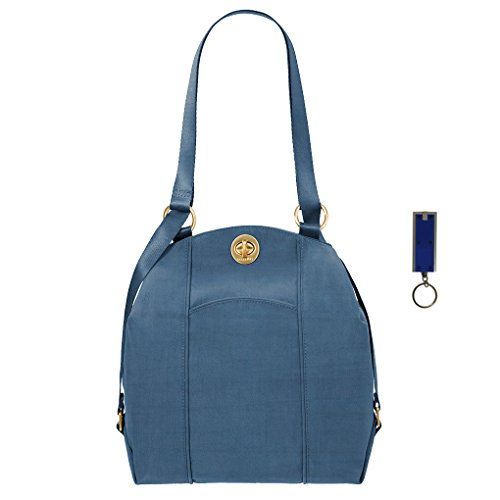 Baggalini Mendoza Handbag -Backpack Shoulder Purse Convertible Bundle w Key Chain Purse Light (Slate Blue)