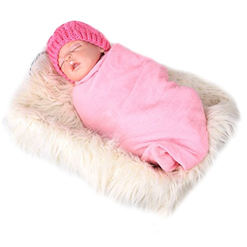 Monique Newborn Baby Soft Faux Fur Blanket Photography Blanket Carpet Photo Props Rug Background Backdrops Beige (Faux Prop Rug Fur Photo)