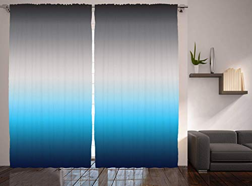 LQQBSTORAGE Ombre Curtains Home Decor,Silky Satin Window Treatments Window Drapes 2 Panel Set for Living Room Bedroom W55 x L63/Pair Gray Blue Navy - Satin Sport Ombre Yarn