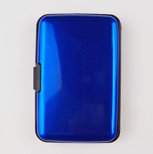 Water-Resistant Aluminum Pocket Business ID Credit Cards Wallet Holder Case Metal Box (Blue) by Bookear Card Case (Image #1)