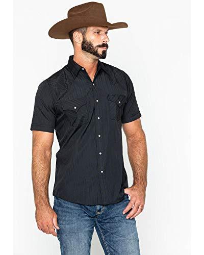 ELY CATTLEMAN Men's Tonal Dobby Striped Western Shirt Black Large