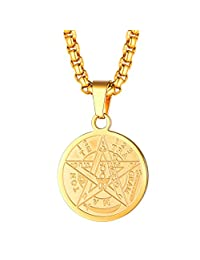 FaithHeart Pentacle of The Sun Talisman Key of Solomon Seal Necklace, Gold Plated/Stainless Steel Solomon Seal Pendant Amulet Jewelry for Men/Women (Send Gift Box)