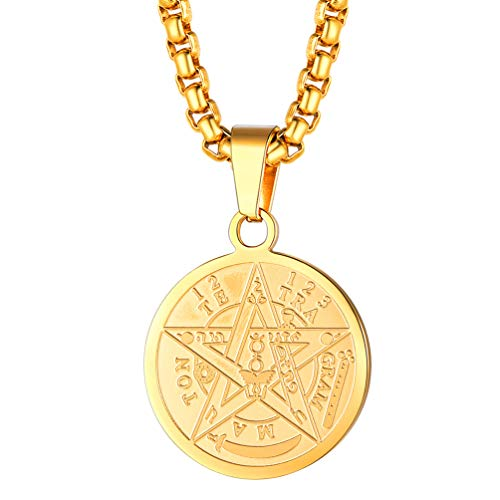 FaithHeart Pentacle of The Sun Talisman Key of Solomon Seal Necklace, Gold Plated Solomon Seal Pendant Amulet Jewelry for Men/Women (Send Gift Box)