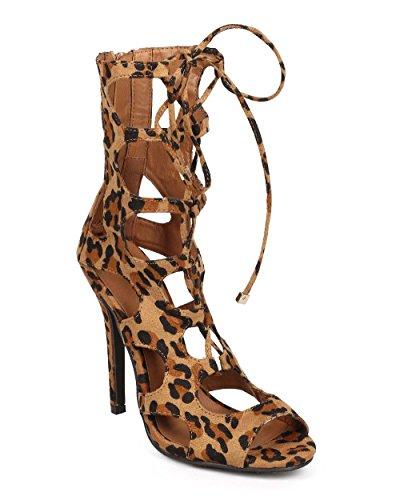 Breckelles Breckelles Dd67 Kvinnor Leopard Peep Toe Gilly Slips Urholka Stilett Sandal - Leopard