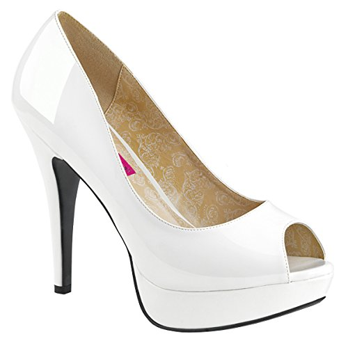 Pleaser Pink Label Womens Big Size Platform Court Shoes Peep Toe Chloe-01 White Patent Bridal Wedding Shoes White Patent
