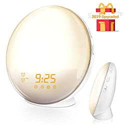 Vandoras Sunrise Alarm Clock, Digital LED Clock with 7 Color Switch and FM Radio for Bedrooms, Multiple Nature Sounds Sunset Simulation & Touch Control, Sleeping Mode & Snooze Function
